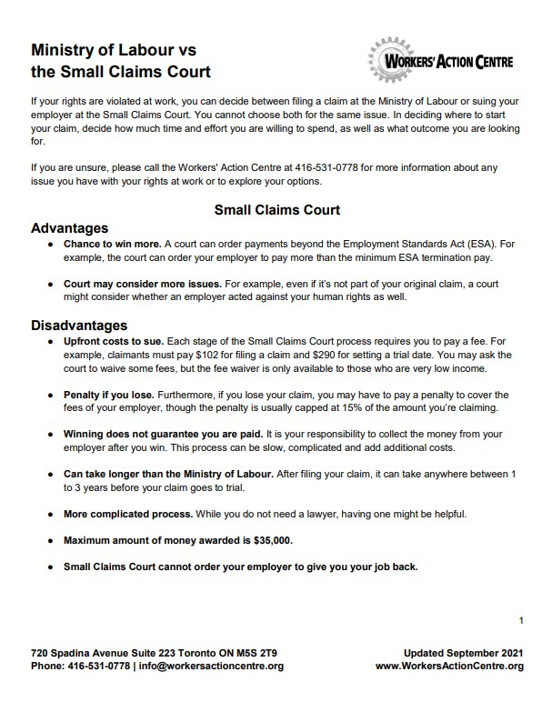 link to fact sheet Ministry of Labour versus the Small Claims Court